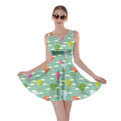 Green Retro Travel Pattern Of Balloons Skater Dress by CoolDesigns