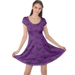 Purple With Halloween Bats And Stars Cap Sleeve Dress by CoolDesigns