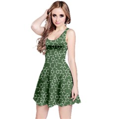 Green Organic Chemistry Pattern With Formulas Sleeveless Skater Dress by CoolDesigns