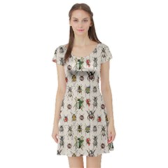 Gray Watercolor Beetles Short Sleeve Skater Dress by CoolDesigns