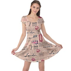 Colorful Pattern Newspaper London With Grunge Eleme Cap Sleeve Dress