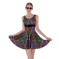 Black Neon Rainbow Colorful Laser With Random Beams Skater Dress by CoolDesigns