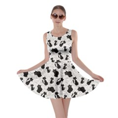 Gray Cartoon Cats Black Silhouettes With White Skater Dress by CoolDesigns