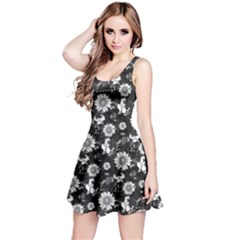Black&white2 Floral Sleeveless Skater Dress