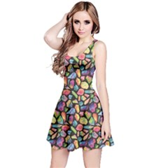 Colorful Colorful Watercolor Gem Pattern Reversible Sleeveless Dress