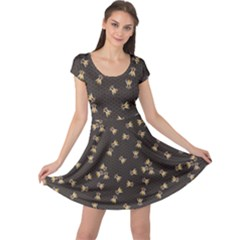 Dark Gray Pattern Of The Bee On Honeycombs Cap Sleeve Dress  by CoolDesigns