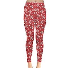 Red Pattern Winter Christmas Leggings by CoolDesigns