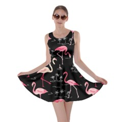 Black Flamingo Bird Pattern Skater Dress by CoolDesigns