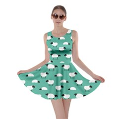 Green Wolf In Sheeps Clothing Wolf Dressed Skater Dress by CoolDesigns