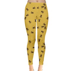 Yellow Pattern Of The Bee On Honeycombs Women s Leggings by CoolDesigns