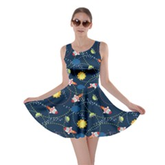 Navy Space With Cute Rocket Skater Dress by CoolDesigns