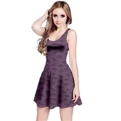 Purple A Pattern With Dinosaur Silhouettes Sleeveless Dress