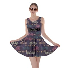 Retro Bicycle Pattern Skater Dress