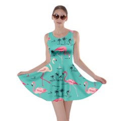 Aqua Flamingo Bird Pattern Skater Dress