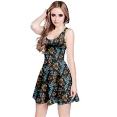 Black&blue Floral Sleeveless Skater Dress by CoolDesigns
