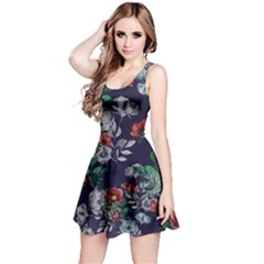 Navy2 Floral Sleeveless Skater Dress  by CoolDesigns