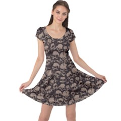 Black Grunge Pattern With Skulls Illustration Cap Sleeve Dress