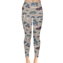 Blue Colorful Mushrooms Pattern Leggings