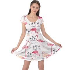 Colorful Flamingo Bird Pattern Cap Sleeve Dress by CoolDesigns