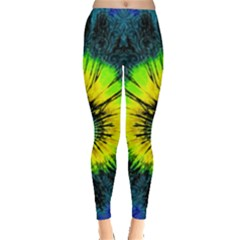 Blue Tie Dye Aztec Tribal Leggings