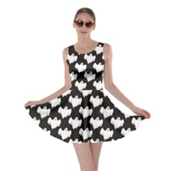 Black Night Flying Ghost Halloween Pattern On Black Skater Dress by CoolDesigns