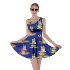 Afternoon Tea Cat Blue Skater Dress by CoolDesigns