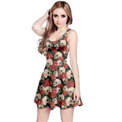 Brown Skull And Flowers Day Of The Dead Vintage Sleeveless Skater Dress