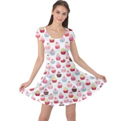 Pink Watercolor Cupcakes Pattern Hand Drawn Cap Sleeve Dress by CoolDesigns