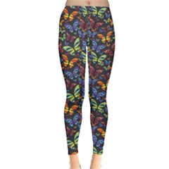 Colorful Pattern Butterflies Colored Leggings by CoolDesigns