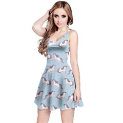 Cowcow Womens Light Blue Unicorn Seamless Sleeveless Skater Dress by CoolDesigns