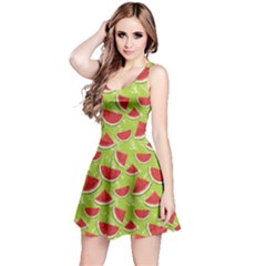 Red Watercolor Pattern Watermelon Reversible Sleeveless Dress