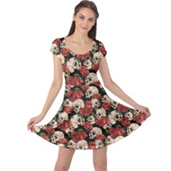Brown Skull And Flowers Day Of The Dead Vintage Cap Sleeve Dress by CoolDesigns