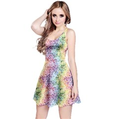 Colorful Pastel Rainbow Petals Sleeveless Skater Dress by CoolDesigns