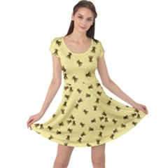 Light Yellow Pattern Of The Bee On Honeycombs Cap Sleeve Dress by CoolDesigns