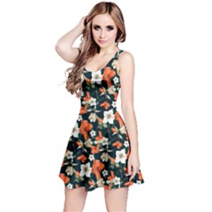 Teal&orange Floral Sleeveless Skater Dress  by CoolDesigns