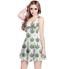 Green Marijuana Badges With Marijuana Leaves Sleeveless Skater Dress by CoolDesigns