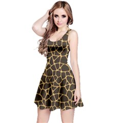 Brown A Brown And Yellow Giraffe Spotted Repeatable Sleeveless Dress by CoolDesigns