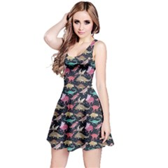 Black Dinosaur Stylish Pattern Sleeveless Skater Dress by CoolDesigns