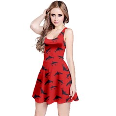 Red Sharks Pattern Reversible Sleeveless Dress by CoolDesigns