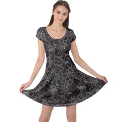 Black Halloween Spider Web Pattern Cap Sleeve Dress by CoolDesigns