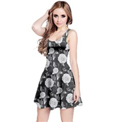 Black N White Vintage Roses Pattern Sleeveless Skater Dress  by CoolDesigns