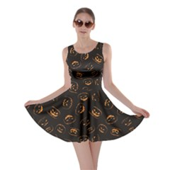 Black Happy Halloween Night Illustration Skater Dress