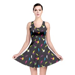 Colorful Space With Cats Saturn And Stars Reversible Skater Dress by CoolDesigns