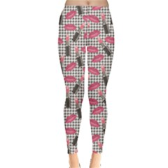 Pink Tweed Pattern Kissing Lips Lipsticks Liners Leggings