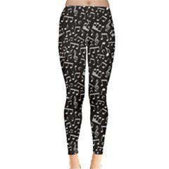 Black White Music Elements On Black Square Pattern Women s Leggings