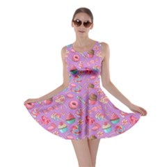 Lavendar Yummy Colorful Sweet Lollipop Candy Macaroon Cupcake Donut Seamless Skater Dress