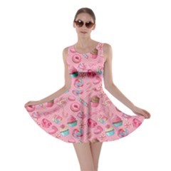 Pink2 Yummy Colorful Sweet Lollipop Candy Macaroon Cupcake Donut Seamless Skater Dress