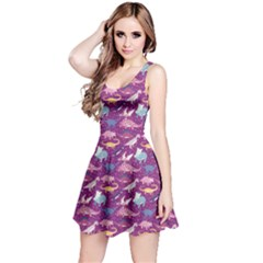 Purple Dinosaur Stylish Pattern Skater Dress by CoolDesigns