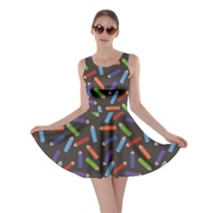 Colorful Pattern Of Colored Pencils Scattered Skater Dress by CoolDesigns