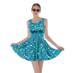 Sky Blue Japanese Cherry Blossom Tree Pattern Skater Dress